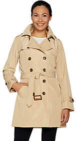 Joan Rivers Classics Collection Joan Rivers Water Resistant Trench Coat withRemovable Hood