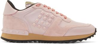 Valentino Pink Suede & Leather Rockstud Trak Sneakers $845 thestylecure.com