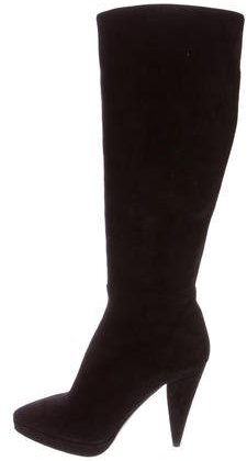 prada Prada Suede Knee-High Boots