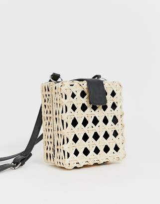 Asos Design DESIGN natural open weave straw cross body bag