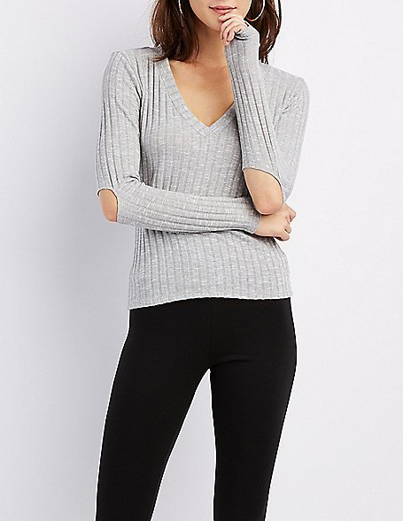 Ribbed Long Sleeve V-Neck Tee