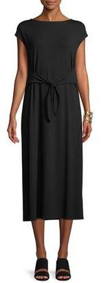 Eileen Fisher Cap-Sleeve Tie-Front Jersey Dress