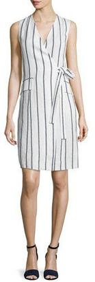Theory Livwilth Wide-Stripe Linen Wrap-Style Dress, White/Blue $345 thestylecure.com