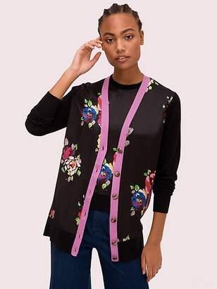 Kate Spade Rare Roses Cardigan, Black - Size L