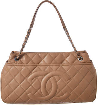 Chanel Beige Quilted Caviar Leather Timeless Cc Tote