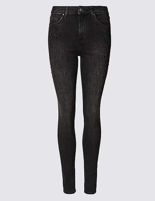 Marks and Spencer Embellished Mid Rise Super Skinny Leg Jeans