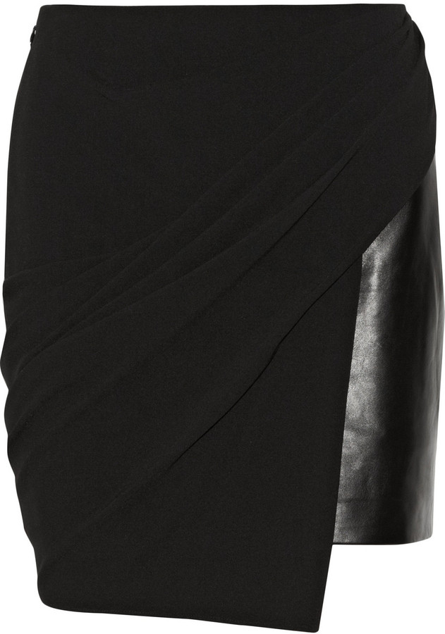 Alexander Wang Asymmetric jersey and leather skirt