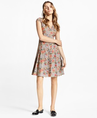Brooks Brothers Floral-Embroidered Mini-Houndstooth Cotton Dress