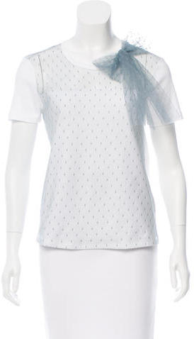 RED ValentinoRed Valentino Bow-Accented Mesh T-Shirt w/ Tags