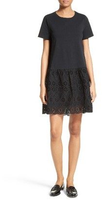Women's Kate Spade New York Eyelet Flounce Knit Shift Dress $248 thestylecure.com