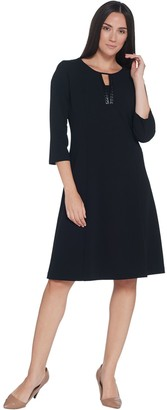 Dennis Basso Luxe Crepe Split-Neck Dress with Faux Leather