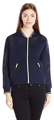 Juicy Couture Black Label Women's Square Bonded Mesh Bomber Jacket $228 thestylecure.com