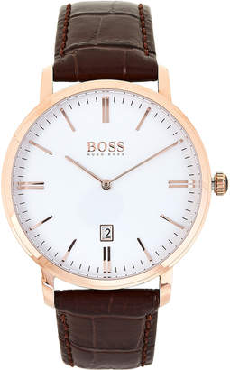 HUGO BOSS 1513463 Rose Gold-Tone & Brown Tradition Watch