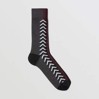 Burberry Graphic Intarsia Cotton Blend Socks