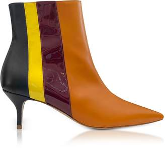 DELPOZO Vertical Stipes Tan Leather Mid-Heel Booties