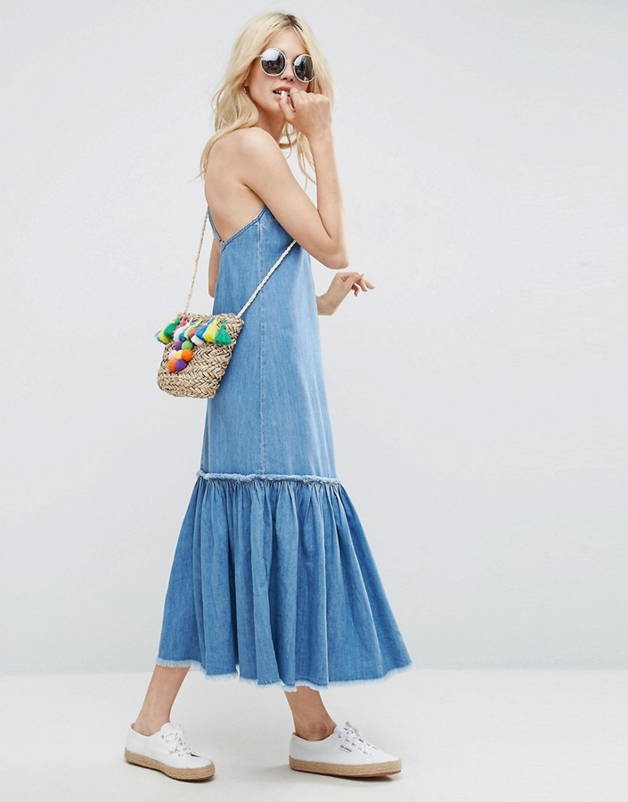 Asos ASOS Denim Maxi Dress in Pretty Blue Wash With Tiered Hem