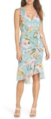 Eliza J Floral Print Faux Wrap Midi Dress (Regular & Petite)