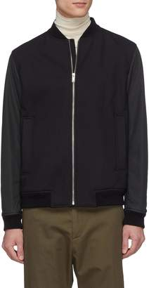 Theory 'Brenton' leather sleeve padded wool twill bomber jacket