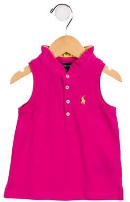 Ralph Lauren Girls' Embroidered Button-Up Top