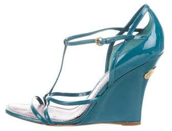 Louis Vuitton Patent Leather Strappy Wedges