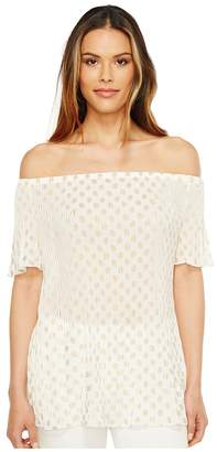 MICHAEL Michael Kors Bergalia Foil Pleat Top Women's Clothing