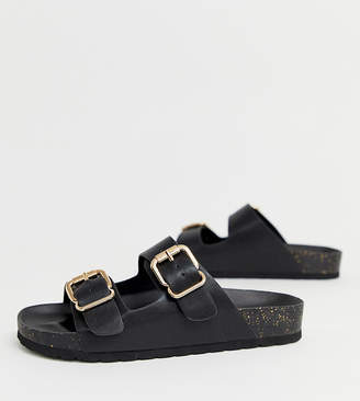 London Rebel wide fit double buckle flat sandals