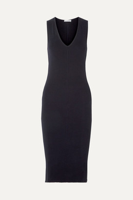 James Perse Ribbed Cotton-blend Jersey Midi Dress - Navy