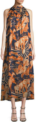 Chufy Sleeveless Halter Animal-Print Silk Long Dress