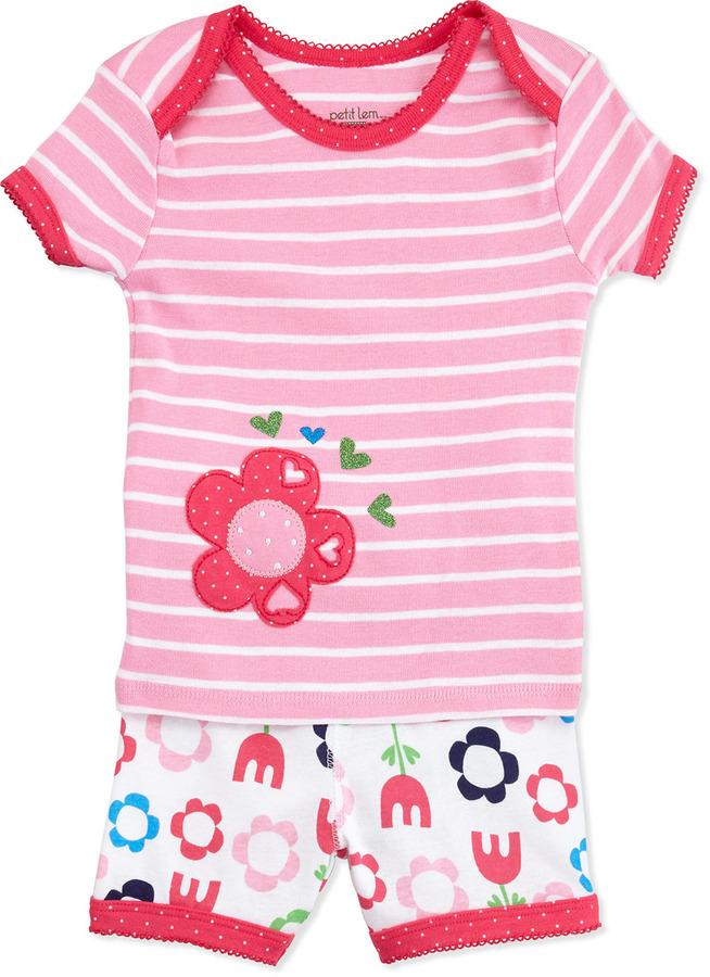 Petit Lem Short-Sleeve Floral Pajama Set, 12-24 Months