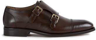 Reiss LEICESTER DOUBLE MONK STRAP CAP TOE SHOES Dark Brown