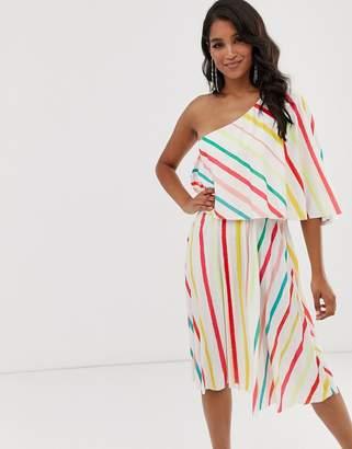 0a408814867f Asos Design DESIGN Striped One shoulder pleated midi dress