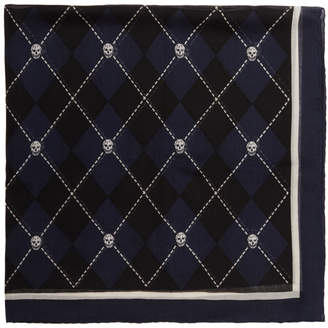 Alexander McQueen Navy and Black Argyle Skull Scarf
