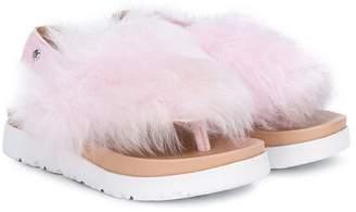 UGG faux fur flatform sandals