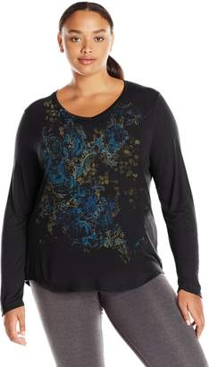 Just My Size Women's Plus Sizelong Sleeve Graphic V-Neck Tee