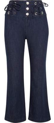 See by Chloe Cropped Lace-Up High-Rise Flared Jeans