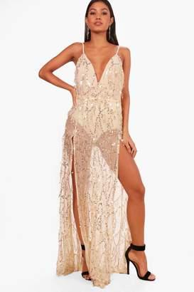 boohoo Boutique Sequin Strappy Maxi Dress