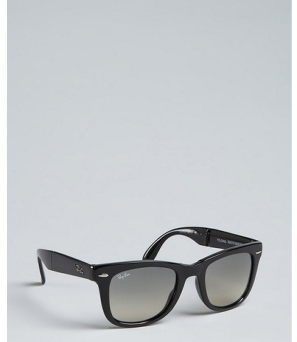 Ray-Ban black plastic 'Folding Wayfarer' sunglasses
