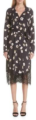 Lela Rose Floral Print Crepe Trench Coat