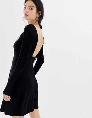 Asos Design DESIGN low button back rib skater dress