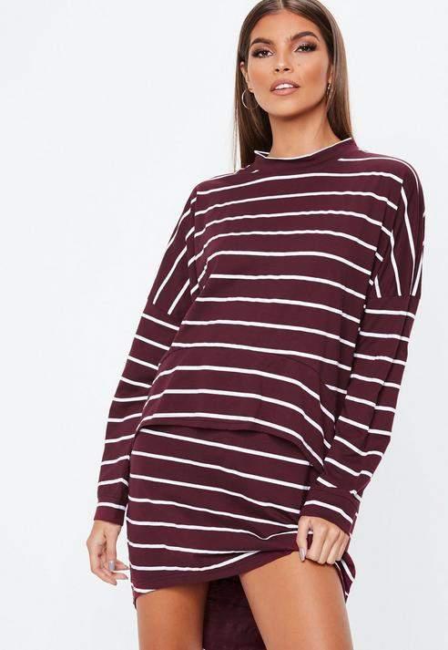 Burgundy Stripe Jersey Overlay Dress, Burgundy
