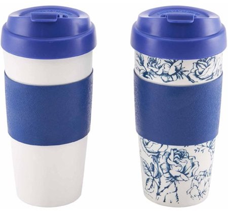 Design for Living 16 oz Mug, Blue and Sketch Flower Pattern, Set of 2