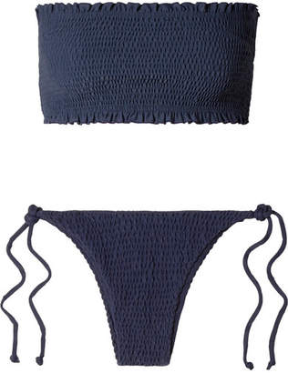 Faithfull The Brand Behati And Candice Shirred Bandeau Bikini - Midnight blue