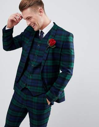 Asos Design DESIGN wedding super skinny suit jacket in blackwatch tartan check