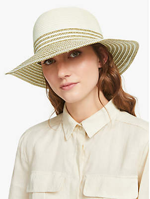 1b3c2d1b John Lewis & Partners Packable Medium Brim Sun Hat, Cream Mix