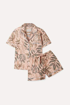 The Lazy Poet - Nina Printed Linen Pajama Set - Sage green