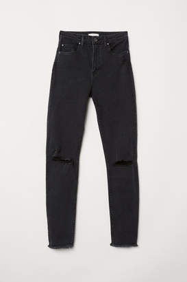 H&M Slim High Trashed Jeans - Gray