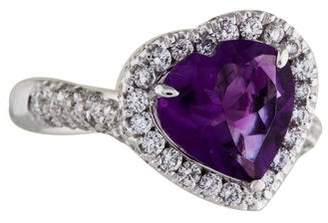 Ring 18K Heart Shaped Amethyst & Diamond