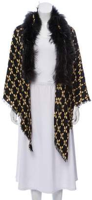 Fendi Fur-Trimmed Patterned Shawl