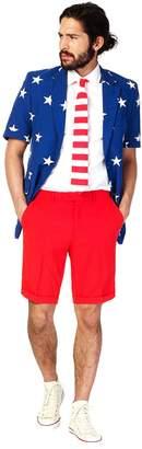 Oppssuits Men's OppoSuits Slim-Fit Stars & Stripes Suit & Tie Set