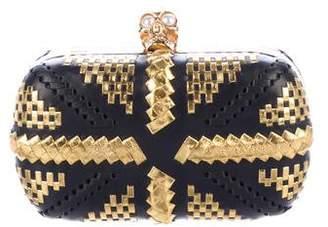 Alexander McQueen Leather Skull Box Clutch
